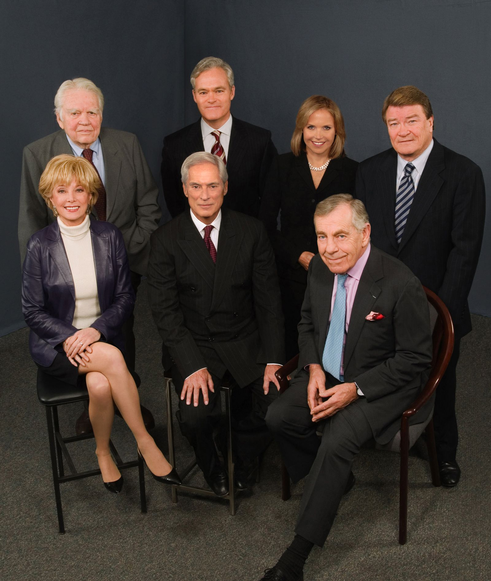 A 2006 photograph of 60 Minutes correspondents and Andy Rooney together for the prime-time news magazine's 39th season. Standing, from left, are Andy Rooney, Scott Pelley, Katie Couric and Steve Kroft. Seated, are Lesley Stahl, Bob Simon and Morley Safer.