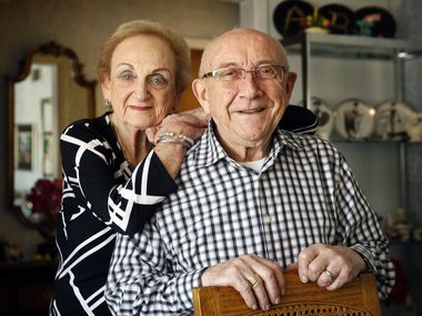 Holocaust survivor Max Glauben and his wife Frieda are photographed at their Dallas home on Dec. 2, 2019. (Tom Fox/The Dallas Morning News)
