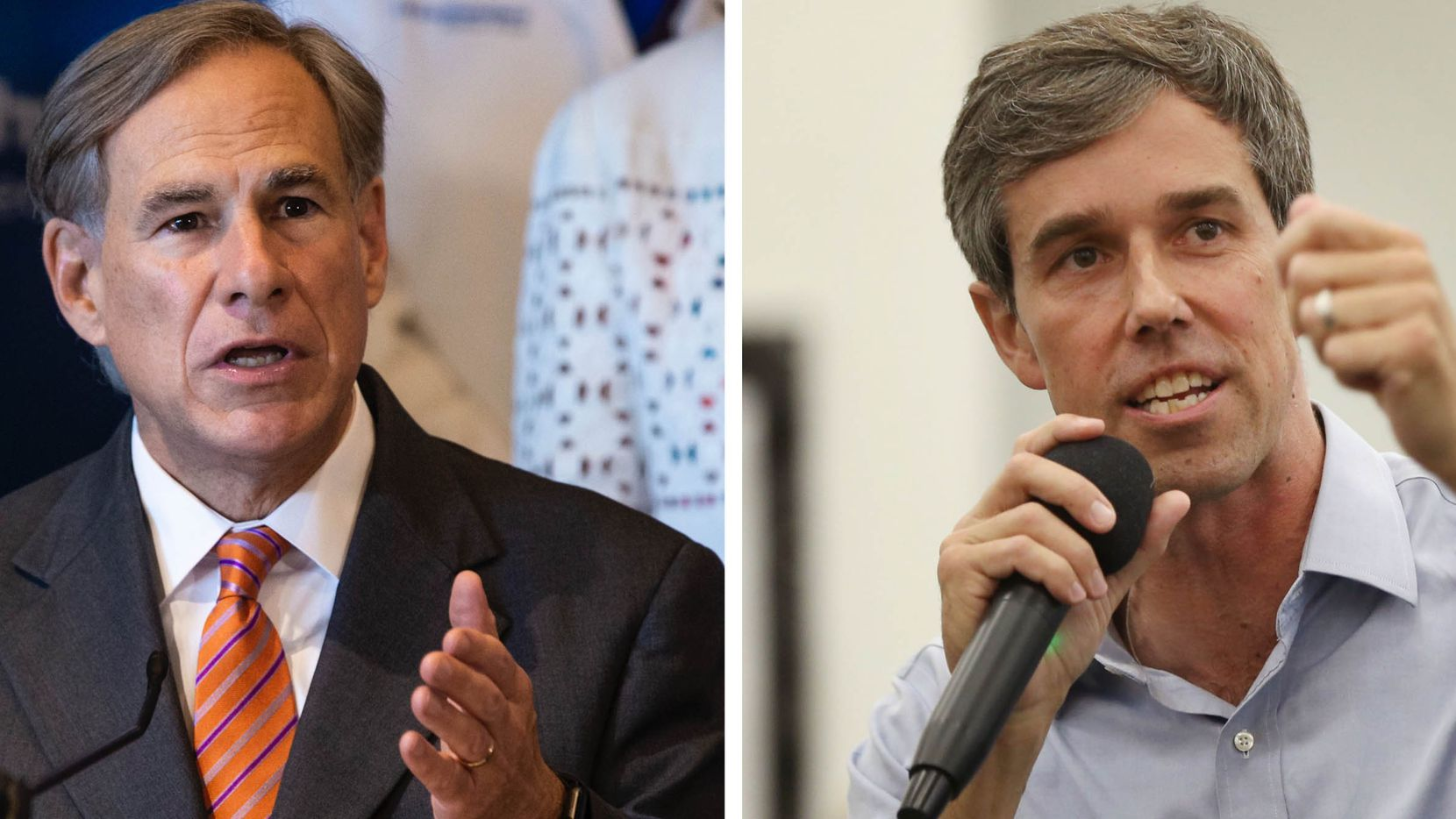 Democrat Beto O'Rourke is considering running for governor against two-time Republican incumbent Greg Abbott. O'Rourke, a former congressman from El Paso, was a 2020 presidential candidate and in 2018 he lost a Senate race to incumbent Republican Ted Cruz by 2.6 percentage points. (Photos by Lynda M. Gonzalez, left, and Rose Baca, right)