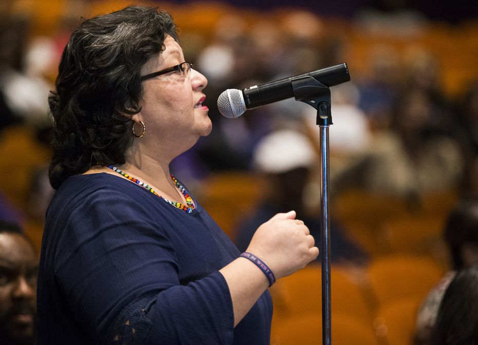 Debbie Orozco Solis has long spoken out on behalf of what she feels is best for the West Dallas community, including at this meeting of the Dallas ISD board of trustees related to school closures in January 2018.