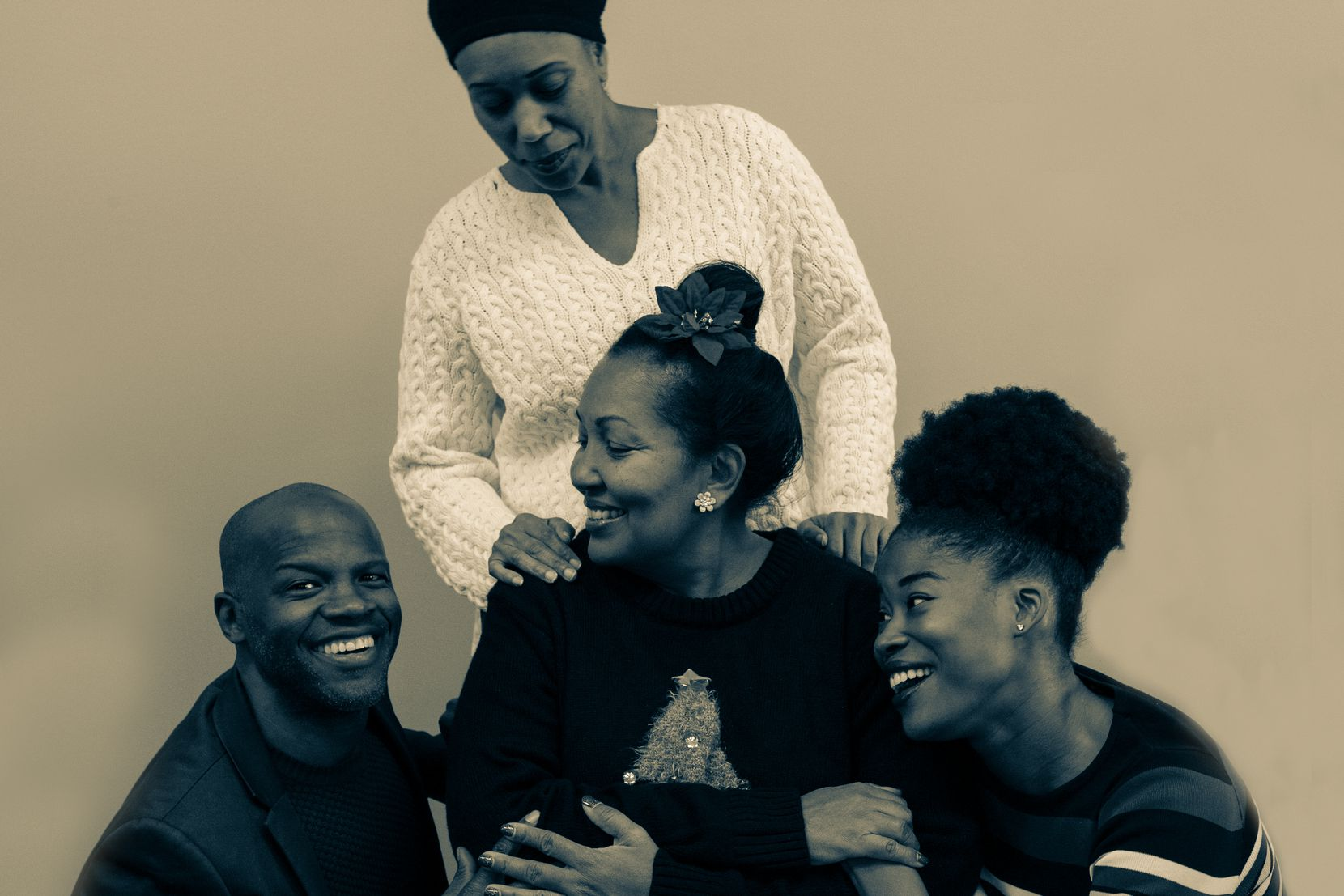 "Renee Miche'al (clockwise from top), Jaquai Wade, Catherine Whiteman and Yusef Miller star in Soul Rep Theatre Company's regional premiere of Colman Domingo's ""Dot."""