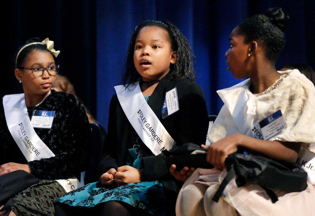 First-place winner Jasira King's head snaps up in astonishment as her name is called in the 27th annual Foley Gardere MLK Jr. Oratory Competition.