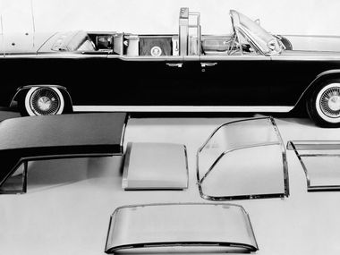 This June 1961 photo shows President. John F. Kennedy's Lincoln Continental limousine. The limo was the first presidential car equipped with a transparent roof for all compartments and has other options including fabric roof covering, or use as a convertible, as well as combinations for the rear, middle and front compartments.