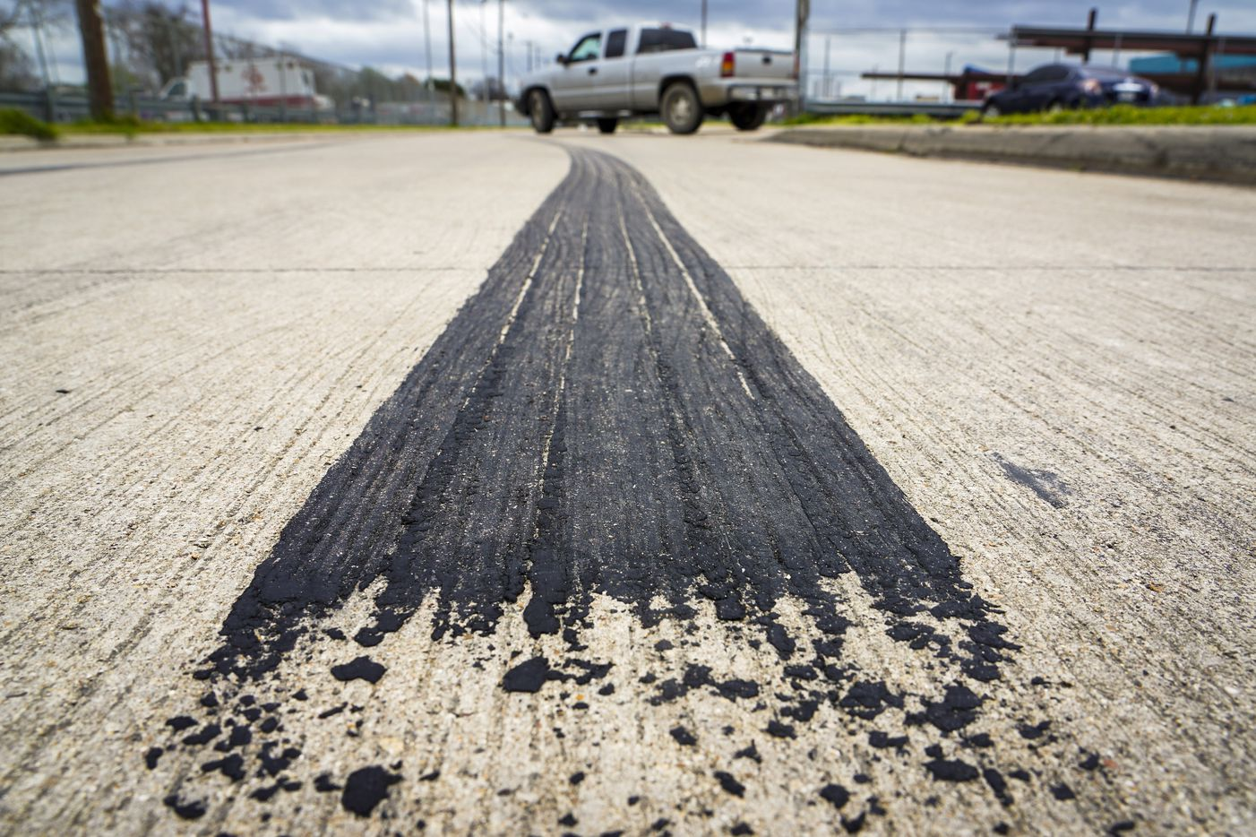 Skid marks are seen in the 1400 S. Henderson Avenue on Monday, March 9, 2020, in Dallas.