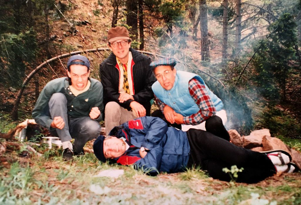 Beto, left, in undated photo while on camping trip, probably in Gila Wilderness in New Mexico, with his father Pat, right; and family friends Jack Maxon, lying on side, and Doug Ramsey, top. (Courtesy of Melissa O'Rourke)