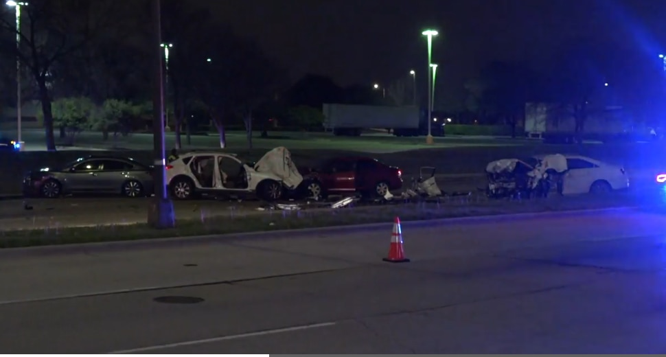 An image from the scene of a multi-vehicle accident in Arlington on Jan. 30, 2020, from footage captured by Metro Video Dallas/Fort Worth.