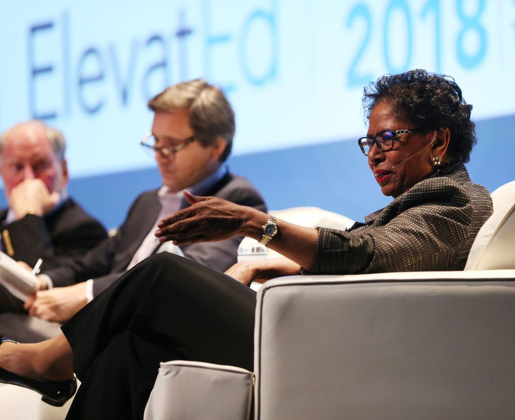 Ruth Simmons, president of Prairie View A&M University, spoke during a panel discussion at the ElevatEd: Education & the Economy conference at Southern Methodist University in Dallas on Monday, June 4, 2018.