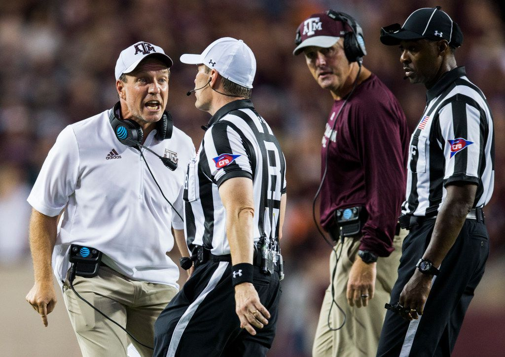 Texas A&M Aggies head coach Jimbo Fisher disputes a call that Texas A&M Aggies wide receiver Quartney Davis (1) fumbled the ball before reaching the goal line during the fourth quarter of a college football game between the Clemson Tigers and the Texas A&M Aggies on Saturday, September 8, 2018 at Kyle Field in College Station, Texas. (Ashley Landis/The Dallas Morning News)