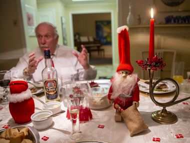 Dallas Morning News reader Kenneth Wincorn hosts his Danish Christmas feast in honor of his late wife, who was from Denmark, on Dec. 19, 2019 in Dallas.