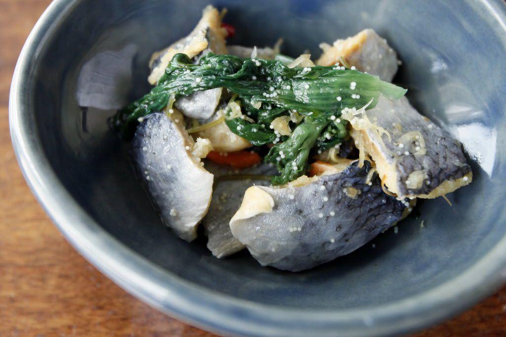 Marinated herring with nanohana and herring roe