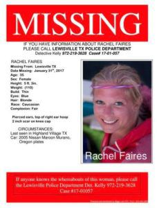 A flier posted on Facebook about Faires' disappearance.