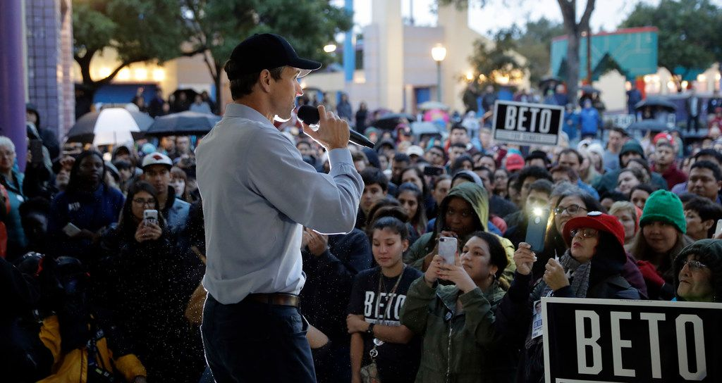 Democratic U.S. Senate candidate Beto O'Rourke speaks at a rally, Monday, Oct. 15, 2018, in San Antonio. O'Rourke is taking a sharper tone in his campaign heading into the final scheduled debate with Republican Sen. Ted Cruz.