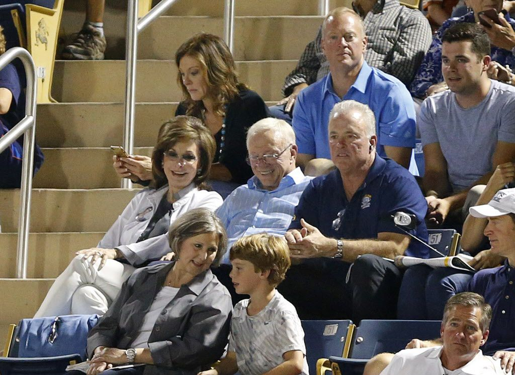 Dallas Cowboys owner Jerry Jones and his wife Gene are joined by their kids, from back left, Charlotte Jones Anderson, Jerry Jones Jr and Stephen Jones as they watch Stephen's son John Stephen Jones, a Highland Park quarterback playing against Lovejoy at Highlander Stadium in Highland Park, Texas, Friday, September 16, 2016. (Tom Fox/The Dallas Morning News)