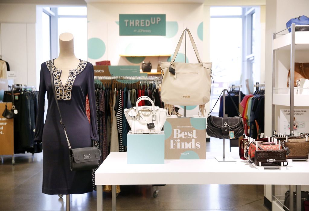 Here's how thredUP was set up in a J.C. Penney store early last year. The department store retailer no longer has a partnership with thredUP. Macy's and Walmart.com do.