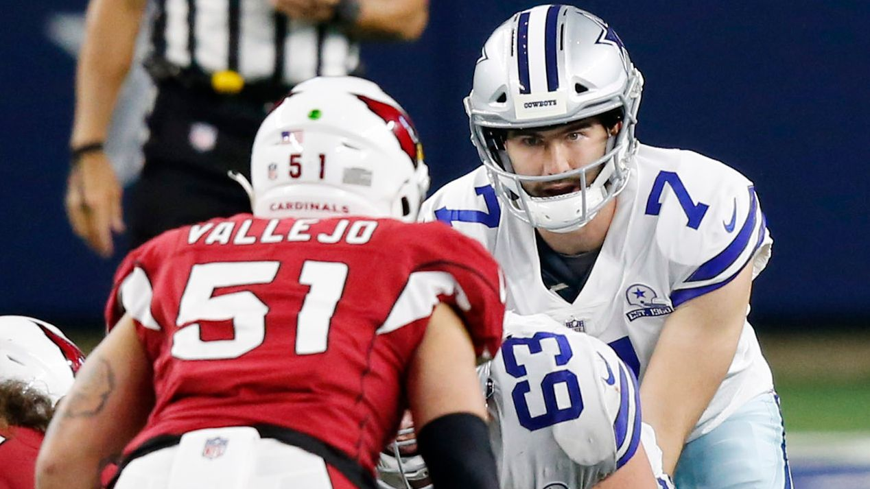 Dallas Cowboys quarterback Ben DiNucci (7) prepares to take the snap from Dallas Cowboys center Tyler Biadasz (63) in a game against the Arizona Cardinals during the fourth quarter of play at AT&T Stadium on Monday, October 19, 2020 in Arlington, Texas. The Dallas Cowboys lost to the Arizona Cardinals 38-10. (Vernon Bryant/The Dallas Morning News)