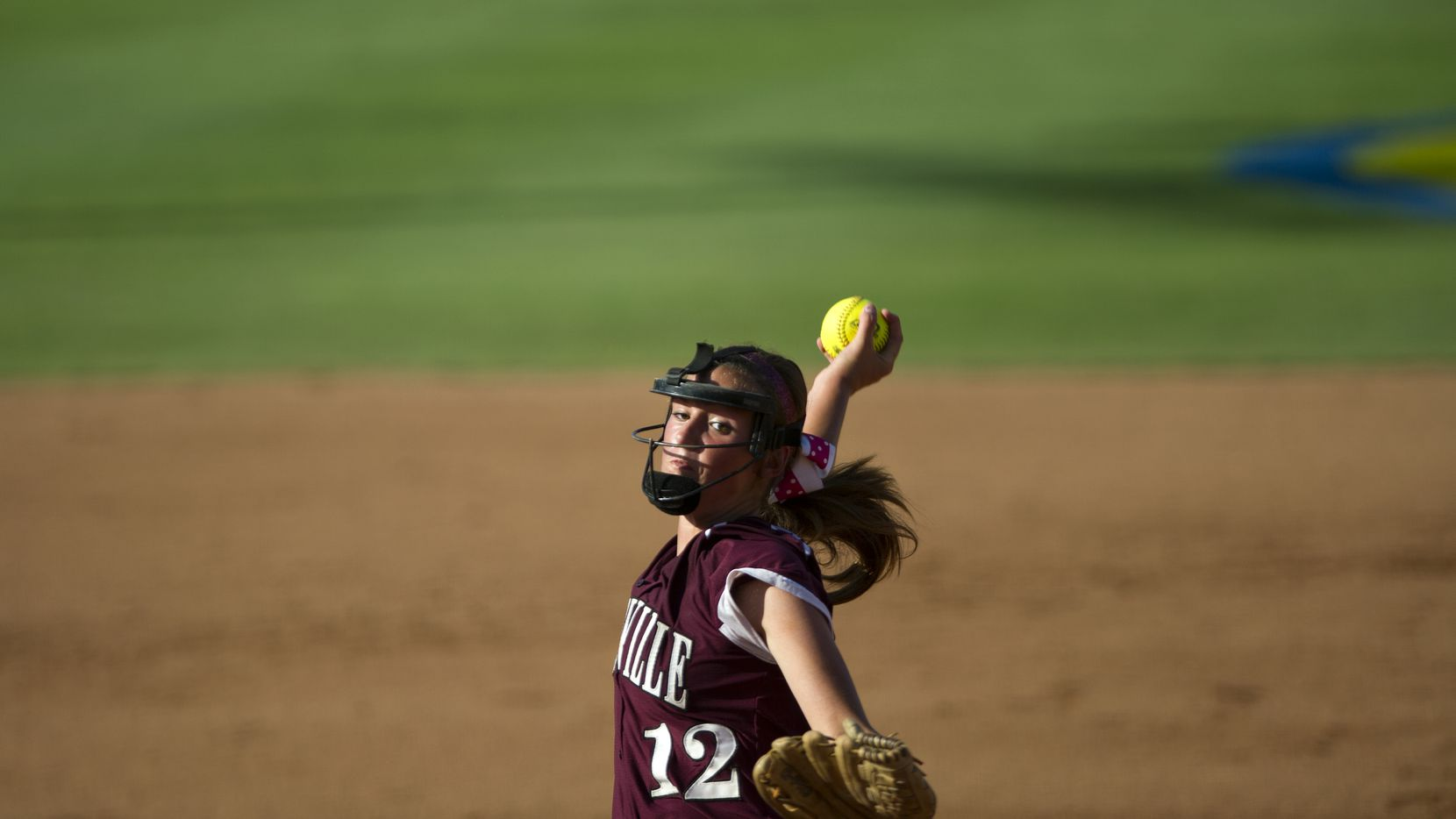 Lewisville pitcher Maribeth Gorsuch pitches during the Class 5A softball state championship between Lewisville and Kingwood at Red and Charline McCombs Field in Austin on June 1, 2013. ORG XMIT: 00017640A