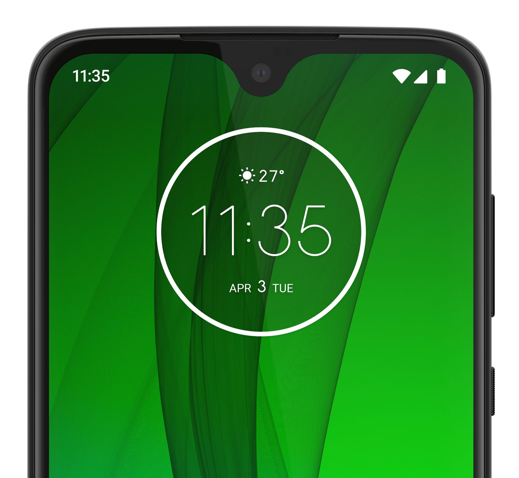 The front camera of the Moto G7 is in a very small notch on the top of the screen.