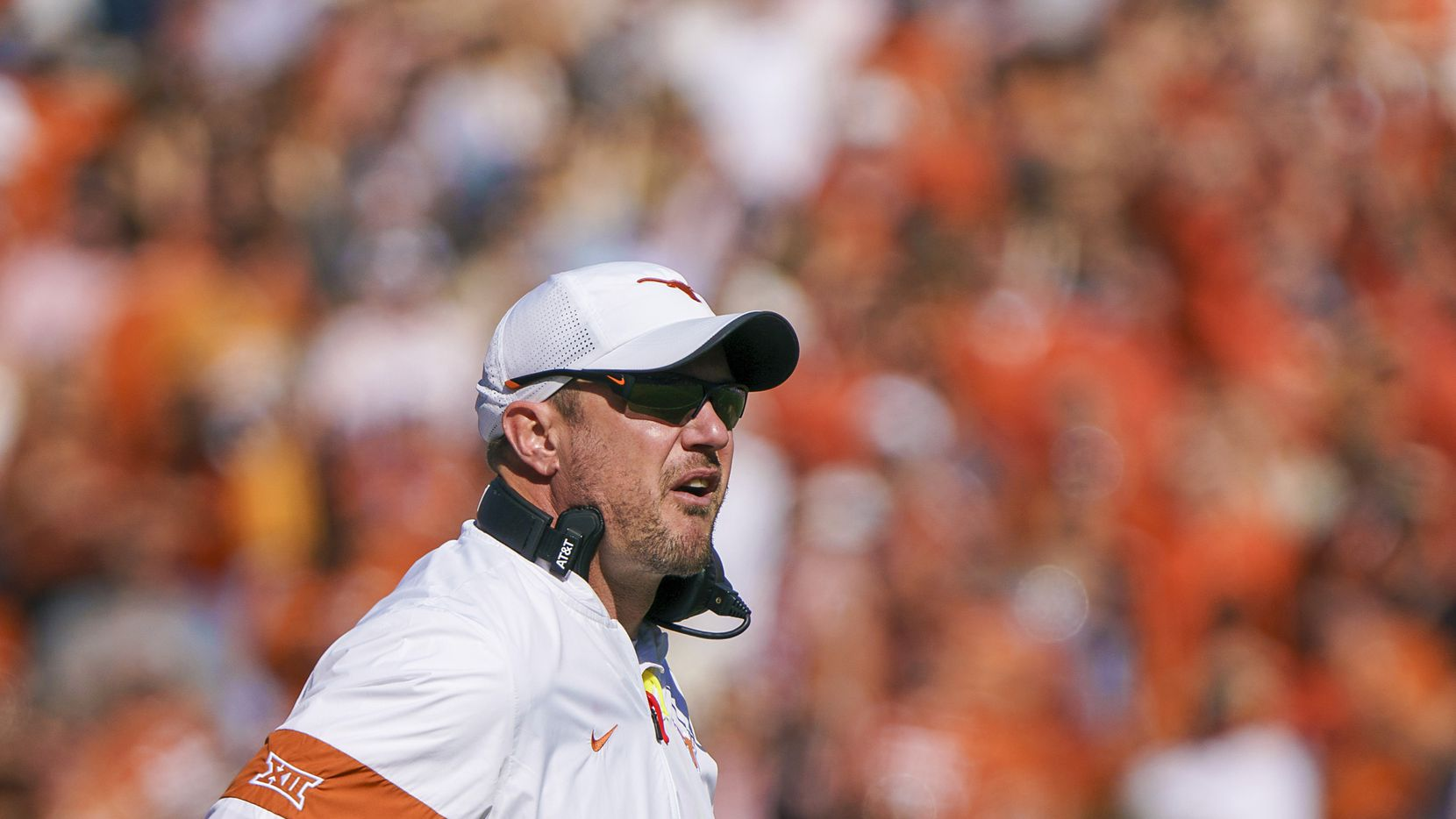 Texas head coach Tom Herman watches from the sidelines during the first half of an NCAA football game at the Cotton Bowl on Saturday, Oct. 12, 2019, in Dallas.