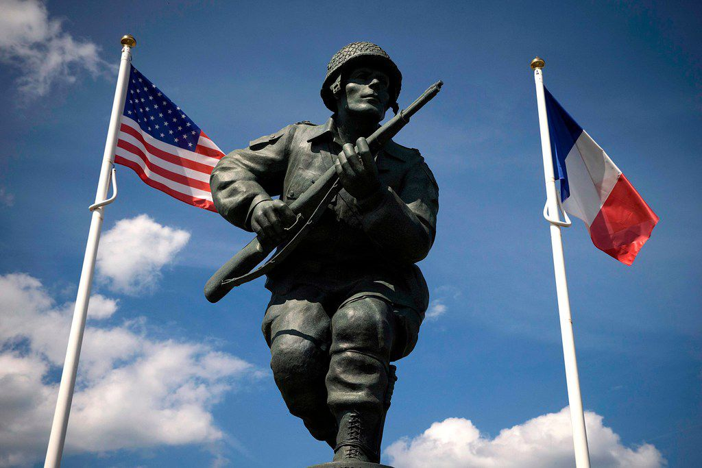 A statue honors the U.S. soldiers of the 82nd Airborne Division near Utah Beach in Normandy, France.