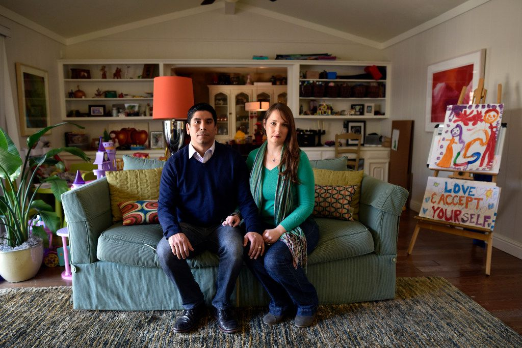Rachel Gonzales and her husband Frank Gonzales are parents of a transgender daughter, photographed at their home, Friday, Feb. 03, 2017 in Dallas. The signs in the background were made for an anti-Trump women march in Dallas. Ben Torres/Special Contributor