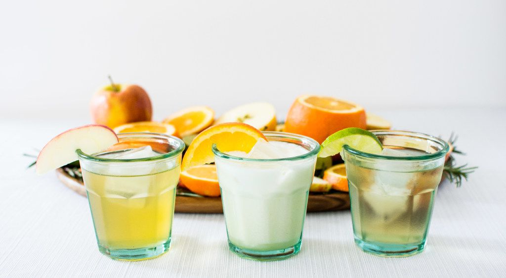 Soda trio:  Rosemary Apple , Orange Cream Soda and Vanilla Lime.