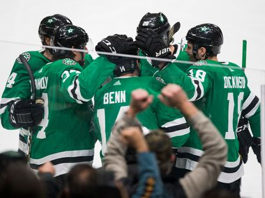 The Dallas Stars celebrate a goal scored by Jamie Benn (14) during the first period of a game against the Carolina Hurricanes on Tuesday, Feb. 11, 2020, at American Airlines Center in Dallas.