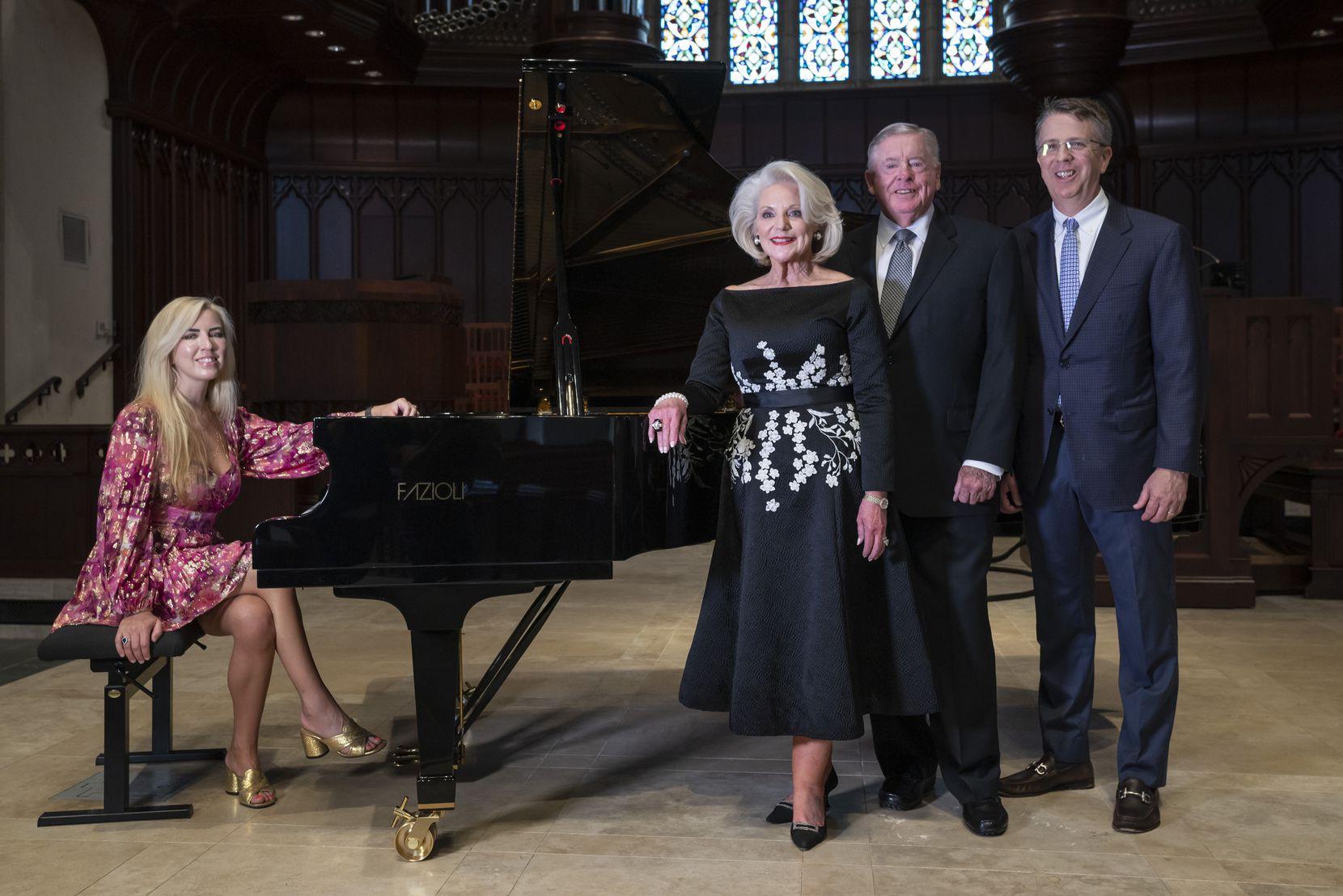 From left: Pianist Natasha Paremski, Dianne Adleta, Jack Adleta and the Rev. Paul Rasmussen are shown with the Fazioli piano.