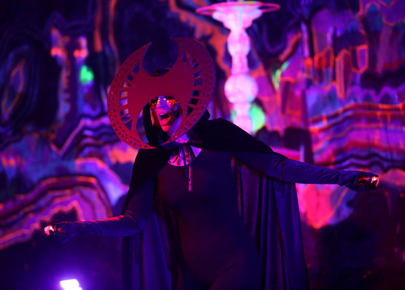 Poppy Xander appears in a heavy-duty costume designed by Teddy Waggy.