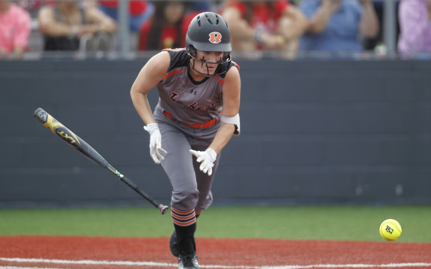 Rockwall's Logan Nies (6) hustles to first base after laying down a bunt during the top of the 4th inning against Converse Judson.The two teams played their UIL 6A state softball semifinal game at Leander Glenn High School in Leander on June 4, 2021. (Steve Hamm/ Special Contributor)