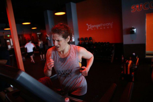 Meryl Evans, who was born deaf, found a way to work out almost daily at Orange-Theory fitness, where sound plays in important role. Rose Baca/Staff Photo