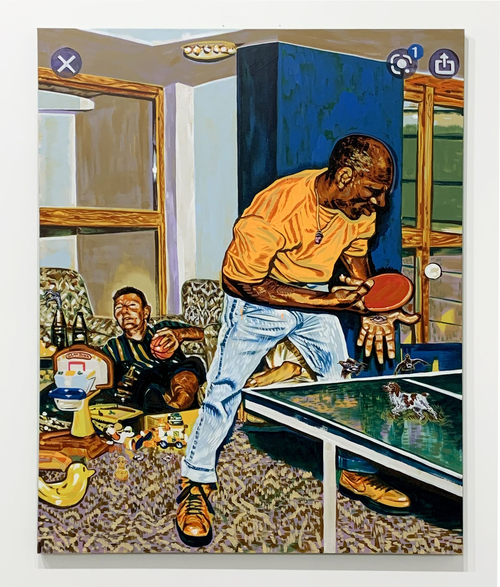 """In """"Wreck Room,"""" Dallas-based artist Clay Stinnett uses his signature swirling and staccato painting style to distort one of the oddest sports photographs of all time -- Michael Jordan playing pingpong while Larry Bird sits drunk surrounded by children's toys."""