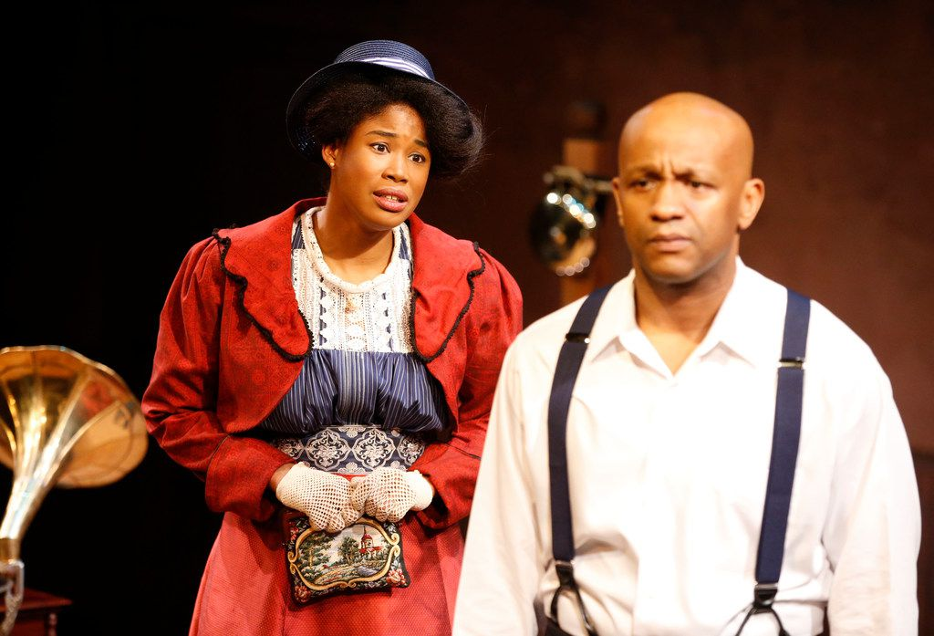 Jaquai Wade Pearson (left, playing Nina) and Jamal Gibran Sterling (Jay) star in the regional premiere of The Royale by Kitchen Dog Theater at Trinity River Arts Center.