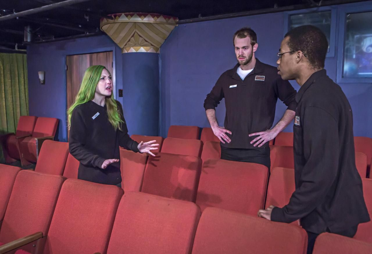Mikaela Krantz, Alex Organ (center) and Jared Wilson perform a scene from Undermain Theatre's production of The Flick. Performances continue through Jan. 31