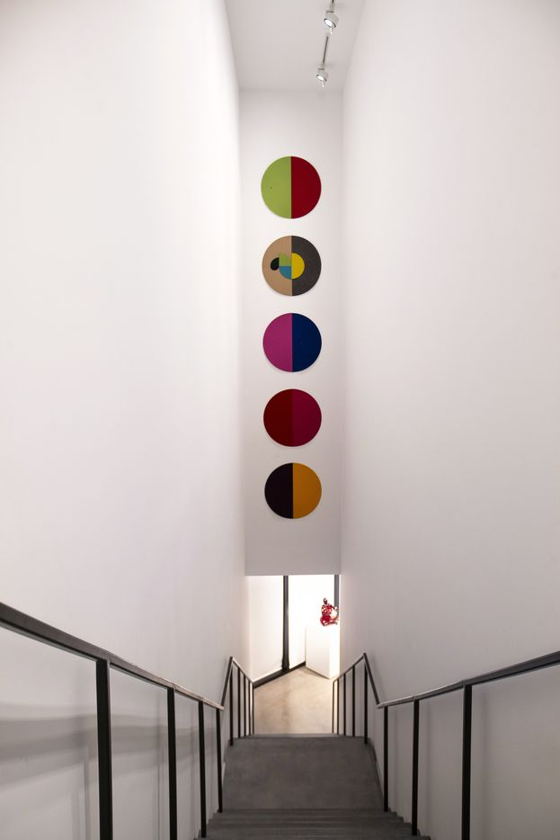 A long, slim stairwell leads up to the gallery rooms at the Ruby City art center.