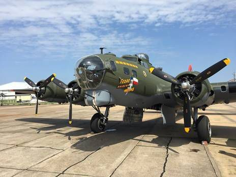 """The B-17 Flying Fortress """"Texas Raiders,"""" one of only five of its type still actively flying today, will be on display at the McKinney National Airport this weekend."""