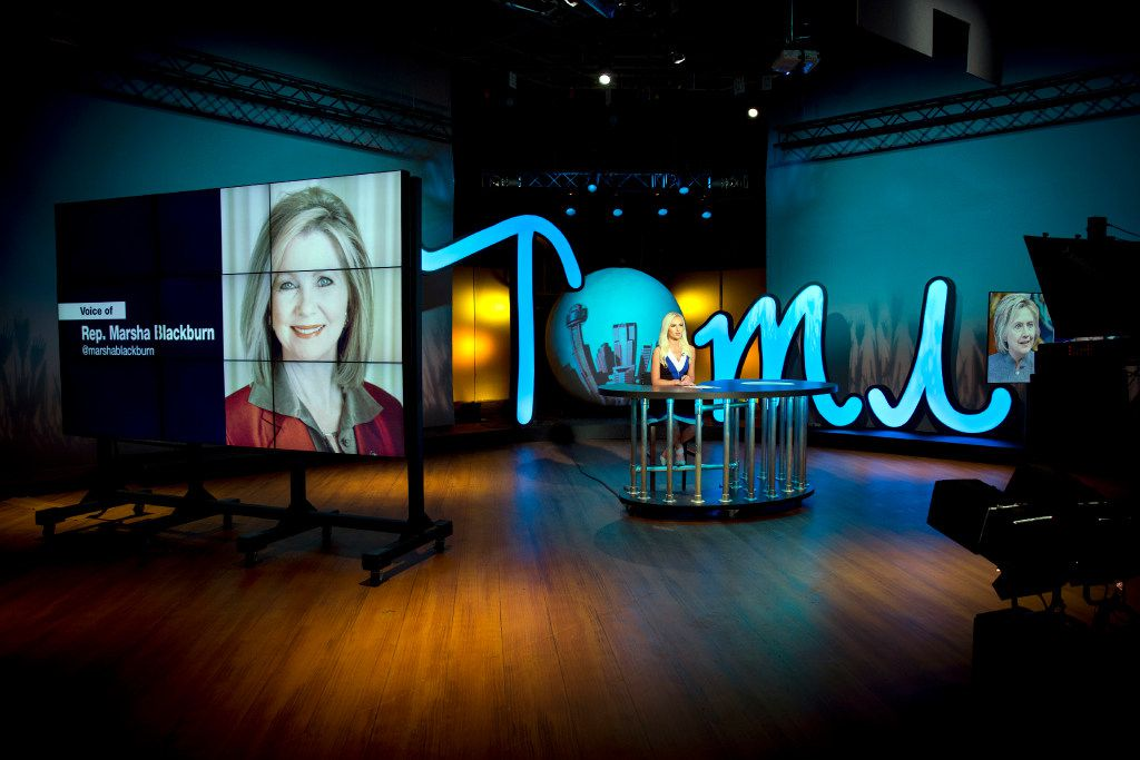 """U.S. Rep. Marsha Blackburn phones in to a taping of Tomi Lahren's show, """"Tomi,"""" Tuesday, October 11, 2016 in Irving, Texas. Lahren, 24, is a rising conservative commentator who hosts a show on Glenn Beck's The Blaze multimedia network, which is based in Irving, Texas. (G.J. McCarthy/The Dallas Morning News)"""