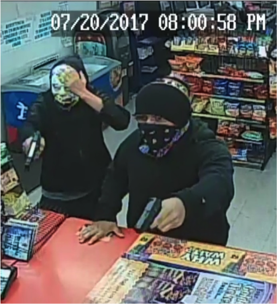 The two suspects captured on recent surveillance video.
