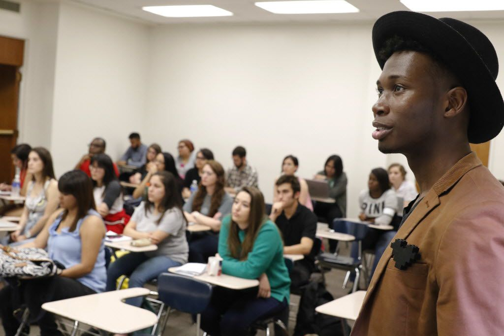 Kenton Rambsy, Assistant Professor at University of Texas at Arlington teaches a class on rapper Ja yZ on Friday, April 22, 2016. Rambsy uses analytics to dig into the meaning of the hip-hop star's music. (David Woo/The Dallas Morning News)