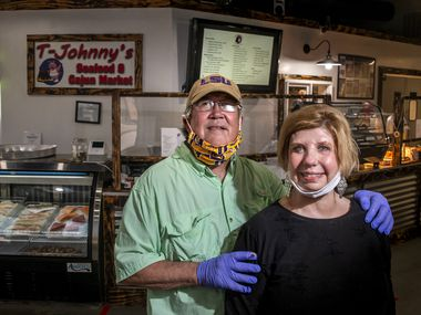 "Owners Phil Tullis and Deborah Allen-Tullis pose for a portrait at T-Johnny's Seafood and Cajun Market in Colleyville on Wednesday, July 8, 2020. The establishment has experienced considerable success despite launching in the middle of the COVID-19 pandemic, which Tullis attributes to their dedication to authenticity. ""These are recipes we grew up with as kids,"" said Tullis, who hails from Louisiana. ""My aim is to provide taste from back home. This is comfort food to a lot of people, especially in a time like this."""