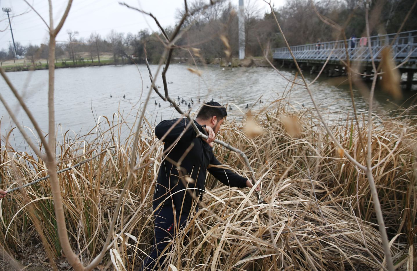 Miguel Arriga searches for his missing cousin Weltzin Garcia Mireles.