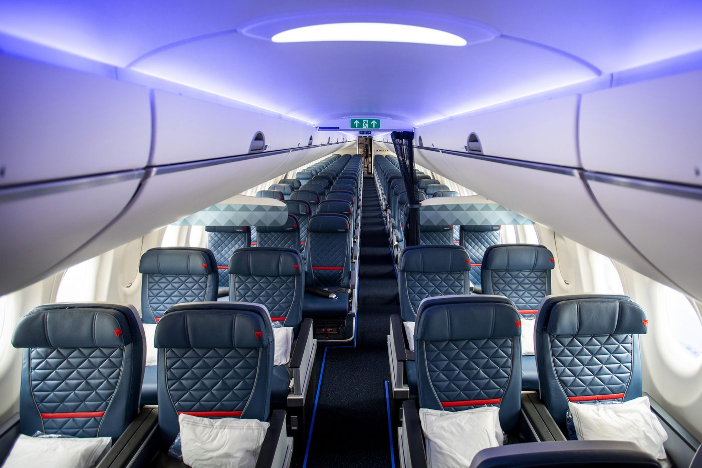 The view from the front of Delta's new Airbus A220-100 airplane.