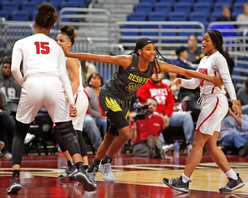 DeSoto's Sa'Myah Smith races back after scoring in a 49-46 loss to Converse Judson in last season's Class 6A state championship game on March 2, 2019 at the Alamodome in San Antonio. (Ron Cortes/ Special Contributor)