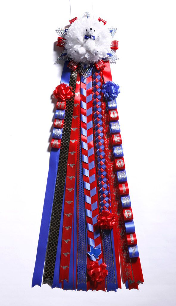 The finished homecoming mum that reporter Charles Scudder ordered for his girlfriend ahead of SMU's homecoming game on Nov. 4.