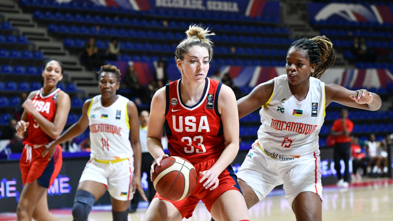 Katie Lou Samuelson (L) of USA in action againast Deolinda Gimo (R) of Mozambique during the FIBA Women's Olympic Qualifying Tournament 2020 Group A match between Mozambique and USA at Aleksandar Nikolic Hall on February 8, 2020 in Belgrade, Serbia.