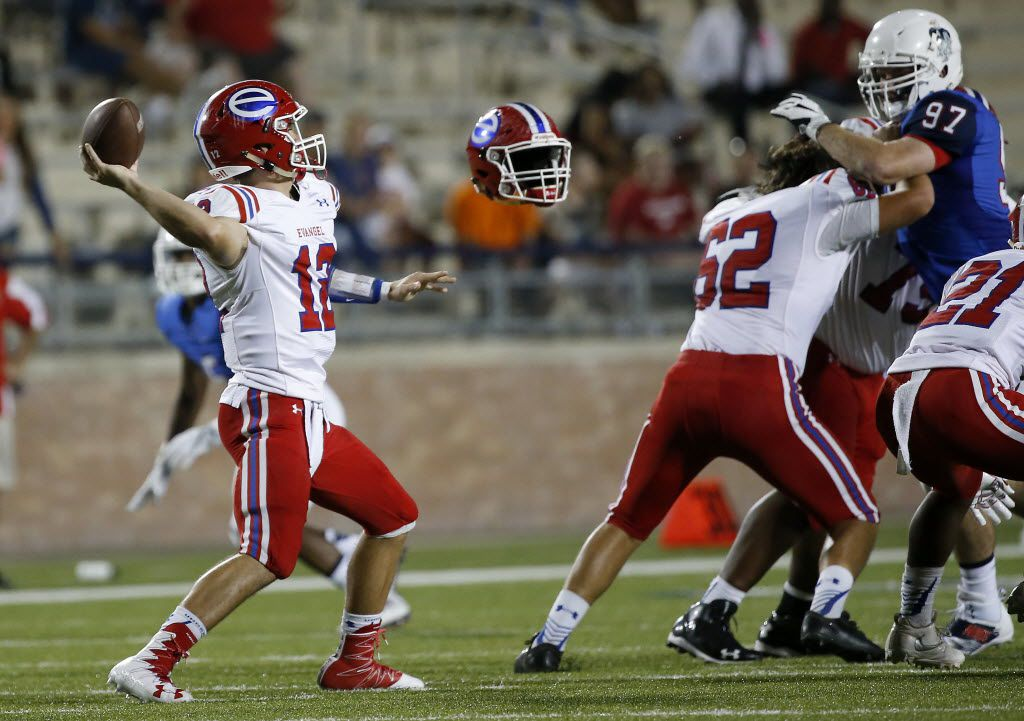 Evangel Christian Academy quarterback Connor Curry (12) throws the ball as Evangel's Tanner Coleman (62) loses his helmet blocking Allen's Peter Nicklas during the first half at Eagle Stadium in Allen, Texas, Friday, Sept. 2, 2016. (Jae S. Lee/The Dallas Morning News)