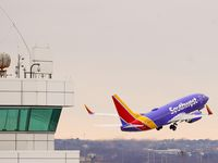 A Southwest Airlines flight takes off at Dallas Love Field on Thursday, Jan. 7, 2021, in Dallas. (Smiley N. Pool/The Dallas Morning News)