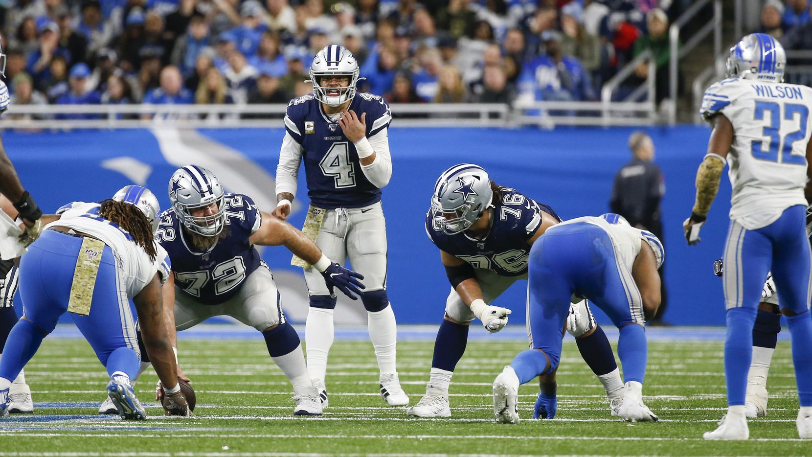 Dallas Cowboys quarterback Dak Prescott (4) calls a play during the second half of a NFL football matchup between the Detroit Lions and the Dallas Cowboys at Ford Field in Detroit, Michigan, on Sunday, Nov. 17, 2019. (Ryan Michalesko/The Dallas Morning News)