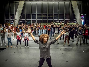 Dallas performing arts venues will be allowed to partially reopen soon, but with restrictions.  The new guidance from Gov. Abbott was welcome news for the AT&T Performing Arts Center. Show here in 2017, assistant choreographer Mayte Natalio rehearses with the cast of 'The Tempest' for the launch of Dallas Theater Center' Public Works Dallas program that was held at the Wyly.