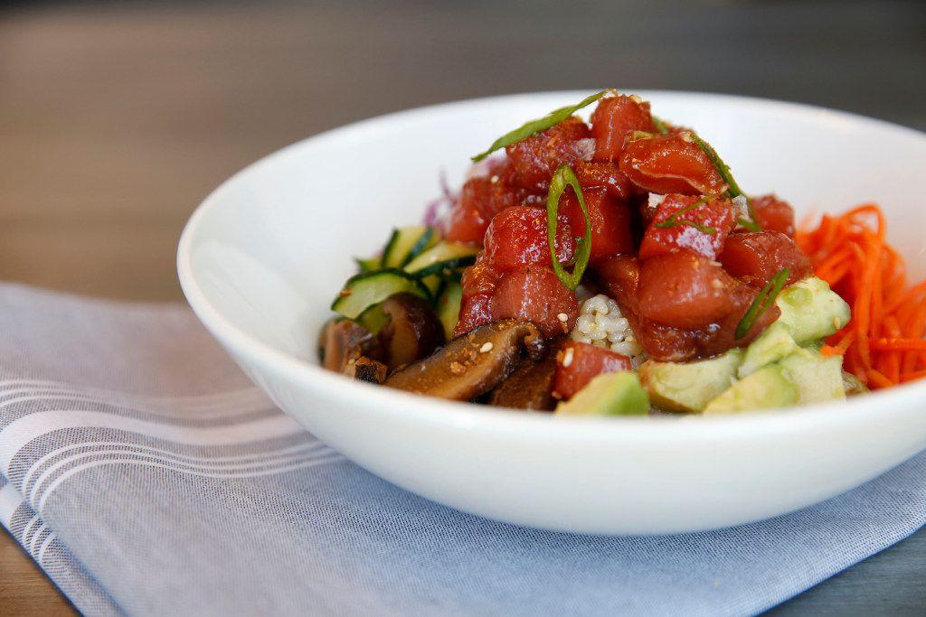 Wheelhouse's yellowfin poke bowl with brown rice, avocado, jalapeno, shiitake, cabbage and sesame  (Rose Baca/The Dallas Morning News)