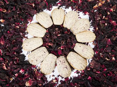 Hibiscus Flower Madeleines with dried hibiscus flowers as photographed on Thursday, March 5, 2020, in Dallas. (Ashley Landis/The Dallas Morning News)